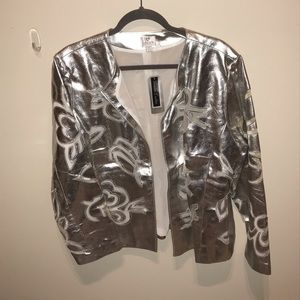 Chico's silver leather cutout filigree jacket